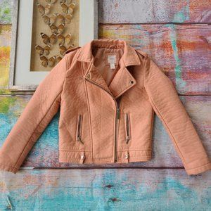 Forever21 Girls Pink Peach Faux Leather Moto Zip Up Jacket Size 13/14
